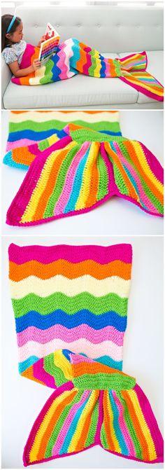 Handmade RAINBOW Kids Mermaid Crochet Tail Blanket Mermaid Tail (affiliate)