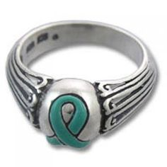 9d8c6afbe Teal Ribbon Enamel Sterling Silver Ring-- this is for ovarian cancer