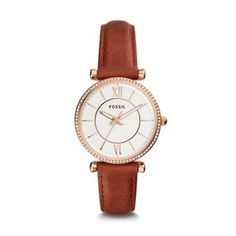 Fossil Carlie Three-Hand Terracotta Leather Watch