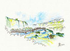 Floreano Falls in the Iguazu Falls @ Foz do Iguaçu, Brazil, 20131102 / Sketch by Youngdong Jang