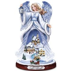 Thomas Kinkade Holiday Reflections Crystal Angel Sculpture by The Bradford Exchange Christmas Mosaics, Thomas Kinkade Christmas, Willow Tree Figurines, Mosaic Crosses, Mosaic Wall Art, Christmas Angels, Christmas Tree Train, Tabletop Christmas Tree, Christmas Christmas