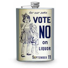 Prohibition Flask 8oz Stainless Steel Hip Flasks Vote No Vintage Anti... ($19) ❤ liked on Polyvore featuring home, kitchen & dining, bar tools, drink & barware, home & living, silver, stainless container, whiskey flask, whisky flask and stainless flask
