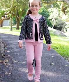 Look what I found on #zulily! Black & Pink Lace Jacket & Pencil Pants - Toddler & Girls #zulilyfinds