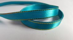 3m Satin Ribbon - Gold-Edged - 10mm - Teal