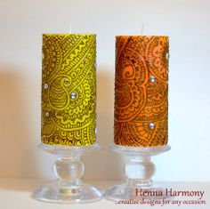 Full design Henna Candle in Orange or Yellow by HennaHarmony, $23.00 Candels, Pillar Candles, Henna Diy, Henna Candles, Candle Art, Beautiful Candles, Bohemian Gypsy, Zentangles, Henna Designs