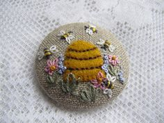 Brooch  2 Emboidered Bee Hive on linen by mariadownunder on Etsy