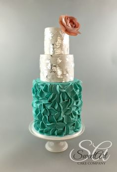 Modern Ruffle Wedding Cake with Silver Leaf and Wafer Paper