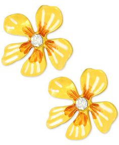 Betsey Johnson Gold-Tone Yellow Flower Stud Earrings - Jewelry & Watches - Macy's