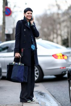 PFW Street Style Day One: Elisa Nalin showed off smart separates and an enviable tote.