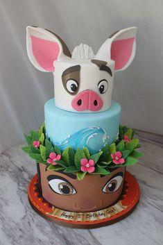 Moana Birthday Decorations, Moana Birthday Party Theme, Moana Themed Party, 3rd Birthday Cakes, Disney Birthday, Moana Theme Cake, Little Girl Birthday Cakes, Birthday Ideas, Mohana Cake