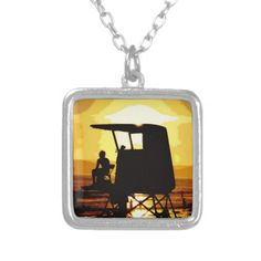Lifeguard Tower at Sunset Necklace by Reprise Vintage.