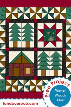 "The ""Winter Woods"" quilt folds nicely into thirds for easy draping over a bed rail, chair back or large ottoman in the northwoods decorating theme. The house and star blocks are each paired with a twin-pines block for a change of scenery when the quilt is folded for display."