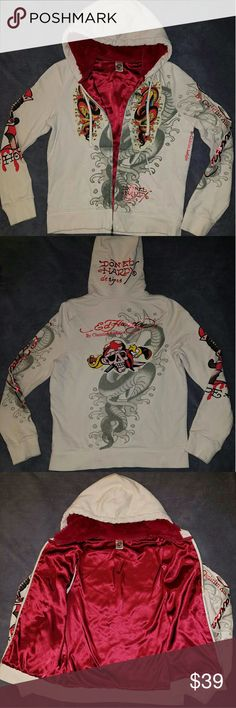 Ed Hardy Fur lined Hoodie Christian Audigier (Med) Beige/Creme Sweatshirt outer w/ Candy Apple Red satin lined inside with faux fur lined hood. Size Medium. Crystal embellished Snake design on front panels with decorative skull on back. Very soft and warm Cotton. Pre-owned and in very good condition. No stains, holes, rips, tears or other damage. Ed Hardy Tops Sweatshirts & Hoodies