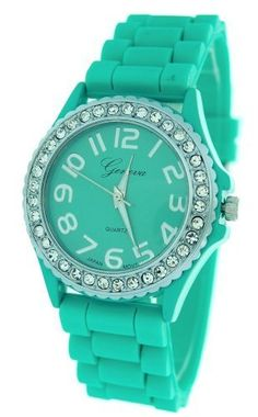 Aqua Ceramic Style Silicone Gel Band Crystal Womens Watch -- Details can be found by clicking on the image.