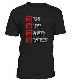 T shirt  Eat Lift Sleep Repeat T-shirt, Gym, Weightlifting, Workout  fashion trend 2018 #tshirt, #tshirtfashion, #fashion