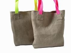 Neon Tote Bag in Jute / Linen, Jute Beach Bag, Handbag, Day Bag.