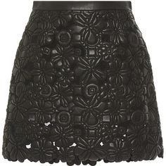 Elie Saab Black Embroidered Leather A-Line Skirt (128,635 PHP) ❤ liked on Polyvore featuring skirts, mini skirts, bottoms, saias, scalloped mini skirt, black a line mini skirt, floral mini skirt, leather a line skirt and floral print skirt