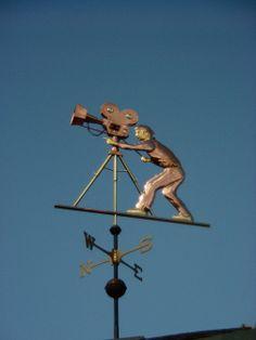 Cameraman Weather Vane Film Maker by West Coast Weathervanes. Weather Vanes, Wood And Metal, West Coast, Vintage Antiques, 1960s, Buildings, Spiritual, Copper, Sayings
