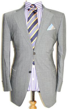 Canali Suit (Men's Pre-owned Natural Comfort Tonic Grey Wool 2 Button Luxury Suit)
