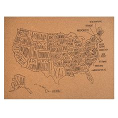 US Map Cork Board by Easy,Tiger