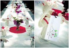 Table setting at Rene and Adam's lakeside wedding