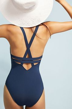 Slide View: 3: Seafolly Deep-V One-Piece Swimsuit #style#swimsuit#womensfashion #swimwear#style#woman#fashion
