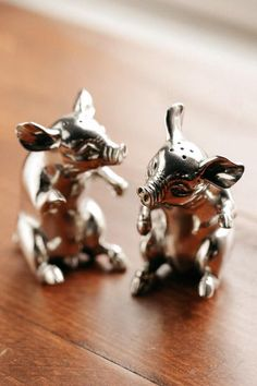 Happy Pigs Pewter Salt & Pepper Set. These little piggies are happy to stay home and join you at your table!