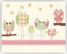 Baby girl room art, Kids Room Decor, Nursery Art, owl ..Life is beautiful (girl). $17.00, via Etsy.