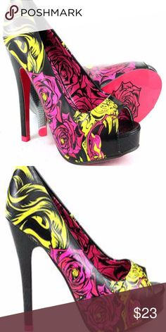 """Iron Fist Sabertooth Viper Peep Toe Platform Viper print platform pumps in vibrant hot pink and yellow. These fab heels feature an open toe, high heel, and concealed platform. 4 1/2"""" heel with 3/4"""" platform. Iron Fist Shoes Platforms"""