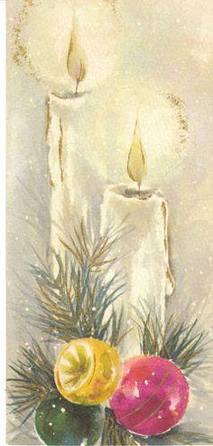 Vintage Christmas Card Candle Ornaments Gold Trim Slim Jims Hallmark Mid Century   eBay