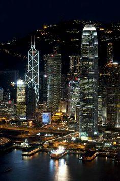 Hong Kong by night,