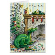 Sorrel's Dragons: another Christmas dragon, making more trouble for everyone. Christmas Dragon, Christmas Art, Magical Creatures, Fantasy Creatures, Dragon Dreaming, Dragon's Lair, Dragon Pictures, Cute Dragons, Dragon Egg