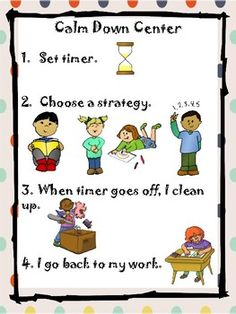 Visual poster for a classroom safe space or calm down center This visual rules poster guides students through calm-down time in a classroom safe space. It prompts students to choose a calm-down strategy: take deep breaths, color/draw, read, or count. Space Classroom, Special Education Classroom, Kindergarten Classroom, Calm Classroom, Primary Education, Physical Education, Calm Down Center, Calm Down Kit, Conscious Discipline