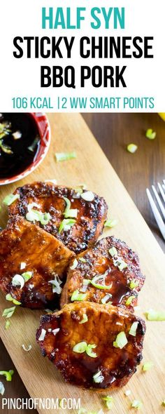 Half Syn Sticky Chinese BBQ Pork Pinch Of Nom Slimming World Recipes 106 kcal 05 Syn 2 Weight Watchers Smart Points Slimming World Pork Recipes, Slimming World Dinners, Slimming World Diet, Slimming Eats, Slimming Workd, Ww Recipes, Healthy Recipes, Recipies, Healthy Foods