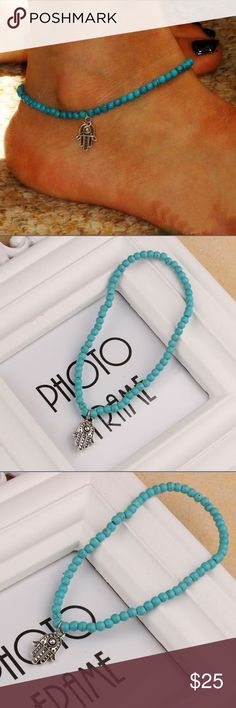 Hamsa Hand Anklet with Boho Beads Hamsa Hand Anklet with turquoise bohemian beads Boutique Jewelry Bracelets