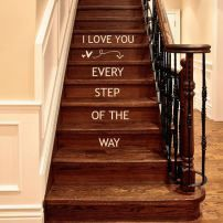 I Love You Every Step Of The Way wall decal words lettering Valentine Decals, Arrow and Hearts decor Stairs Vinyl, Staircase Decals, Stair Steps, Heart Decorations, Stairways, My Dream Home, Home Projects, Future House, Wall Decals