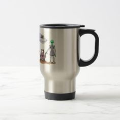 Friends No Matter The Differences Travel Mug.  Sunday Steal: 50% off luggage tags, travel mugs & more! USE CODE: ZSUNSTEAL163 Offer is valid through January 22, 2017 11:59PM PT.  #zazzle #travel_mug #aliens #friendly_aliens #alien_beings #scifi_art