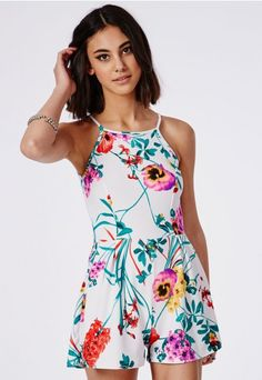 Sharkita Floral Print Romper - Rompers - Missguided