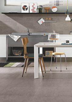 Concept-laatat tuovat trendikkään sementtisen ilmeen lattia- ja seinäpinnoille. Laattamallisto Värisilmästä http://kauppa.varisilma.fi/laatat/lattialaatat/concept/ #laatta #keittio