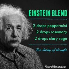 Essential Oil Blend Recipes That Will Make You Feel Great Essential Oils For Memory, Essential Oils For Colds, Essential Oil Diffuser Blends, Essential Oil Uses, Young Living Essential Oils, Healing Oils, Diffuser Recipes, Einstein, Clarity
