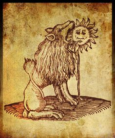 one of the classic symbols of alchemy - the green lion devouring the sun. As with most of the striking, and to the modern mind, somewhat 'surreal' images which populate these works, they have a bewildering range of possible meanings. Alchemy and Magik Nicolas Flamel, Alchemy Art, Esoteric Art, Illustration, Sacred Geometry, Graphic, Dark Art, Witchcraft, Mystic