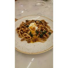 Asian bolognese. Udon with chicken ragu and 60 egg