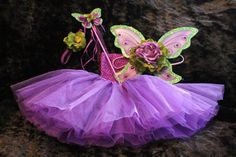 3pc Tinkerbell inspired purple with green trim  fairy butterfly wings headband and tutu. Baby kids photo prop ready to ship on Etsy, $38.99