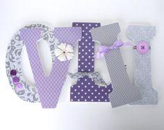 PurpleGray and Aqua Wood Nursery Decor  Baby Girl by LetterLuxe