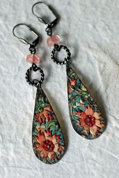 Teardrop Flower Vintage Tin Earrings Turquoise by EntwyneDesigns