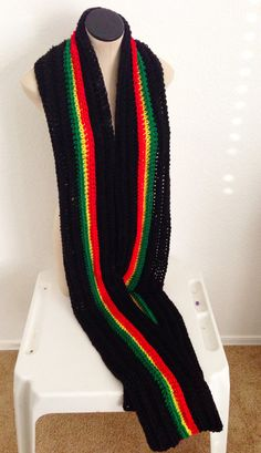 READY TO SHIP. Extra Long Crochet Rasta Scarf. Pan by Africancrab, $38.00