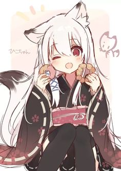 Anime picture with original mafuyu long hair single tall image blush looking at viewer open mouth red eyes fringe simple background sitting white hair animal ears holding hair between eyes japanese clothes traditional clothes tail animal tail Manga Anime, Art Manga, Manga Girl, Anime Art, Anime Girls, Anime Kawaii, Anime Neko, Ecchi, Toddler Girls