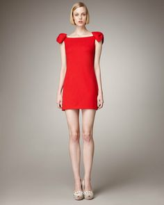 Valentino BowSleeve Dress in Red