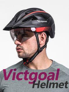 Professional bike helmet with LED USB rear light, Grey sun-blocking goggles and detachable sun visor Bicycle Helmet, Bike, Riding Helmets, Grey, Bicycle, Gray, Cycling Helmet, Bicycles