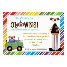 #Colorful #clown striped border #kids #birthday custom #invitations